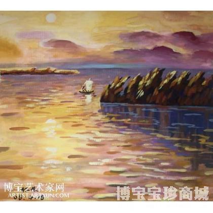 名家 裴松龄 国画; - 裴松龄 夕阳西下 类别: 水粉画|水彩画